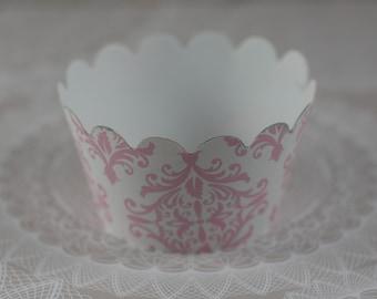 Pink Damask Wedding Cupcake Wrapper,  Cupcake Wrappers,  Set of 12 Cupcake Wrappers,  Party favor, Romantic cupcake wrapper, Wedding cupcake