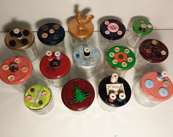 Jars Pincushion - sewing - decorated jars - colored lids - buttons - coils - upcycling - recycling - cushion fabric