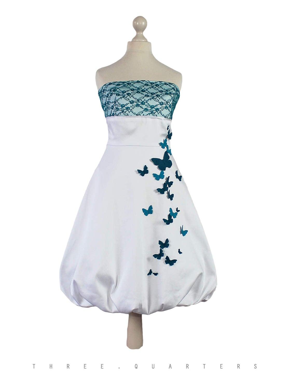 Brautkleid weiß Schmetterlinge petrol blau Hochzeit