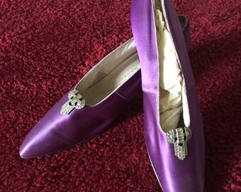 Luscious Purple Edwardian Satin Pumps