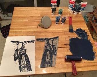 Gary Fisher mountain bike - original linoprint
