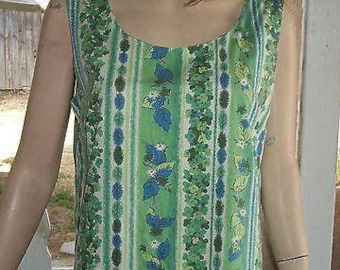 Vintage 60s Boho Hippie Chic Blue Green White Cotton Floral Leaf Striped Summer Womens Handmade Sleeveless Shift Dress