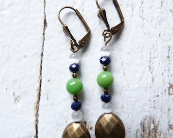 Green and blue with Pearl bronze dangle earrings
