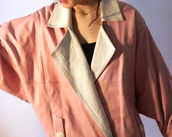 Vintage two piece  high waist leather pants leather jacket 80s 90s pink white