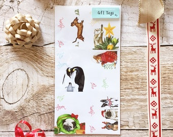 Christmas Gift Tag Set - Christmas Gift Tags, Sticker Gift Tag, Christmas Packaging, Christmas Gift Wrap
