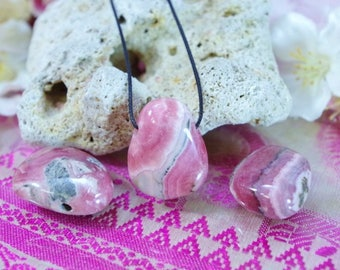 Rhodochrosite natural stone drilled pendant