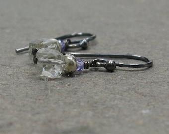Green Amethyst Earrings Oxidized Sterling Silver Gemstone Cubes Geometric Jewelry Small Tiny Petite Gift for Wife Purple Zircon