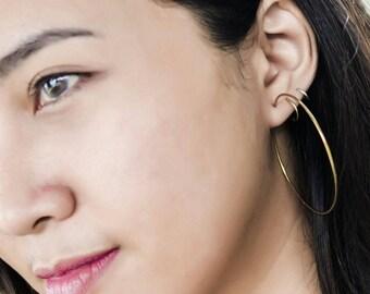 Big Hoop Earrings / Hoop Earrings / Dainty Earrings / 14K Gold Plated Earrings / Minimal Earrings / Modern Earrings / Minimalist Jewelry