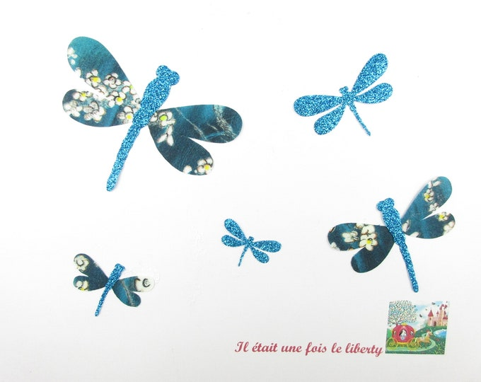Applied fusible dragonflies liberty Pamela Judith flex blue glittery ironer pattern patch fusible badges