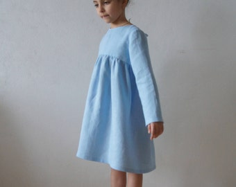 Linen dress, Linen girl dress, Linen dress for girls, Vintage girls dress, Linen girls dress, Flower linen dress, Flower girl dress