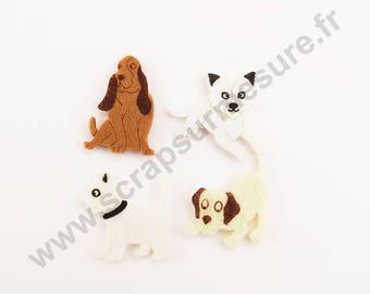 Felt - dog - x 4 pcs stickers