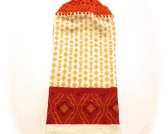 Orange And Cream Hand Towel With Carrot Orange Crocheted Top