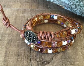 A1044 Leather Triple Wrap Bracelet with Howlite Square Beads and AB Crystals
