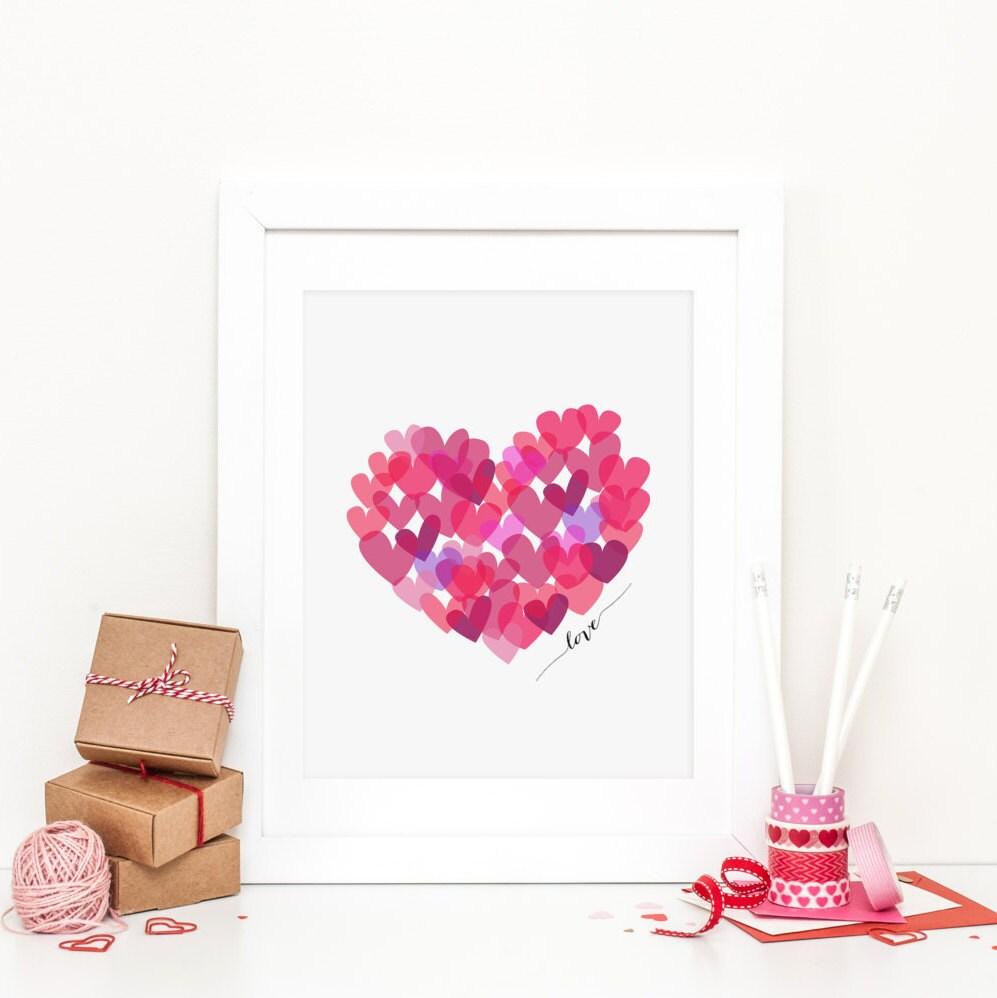 Heart Printable Heart Nursery Decor Valentines Day Heart