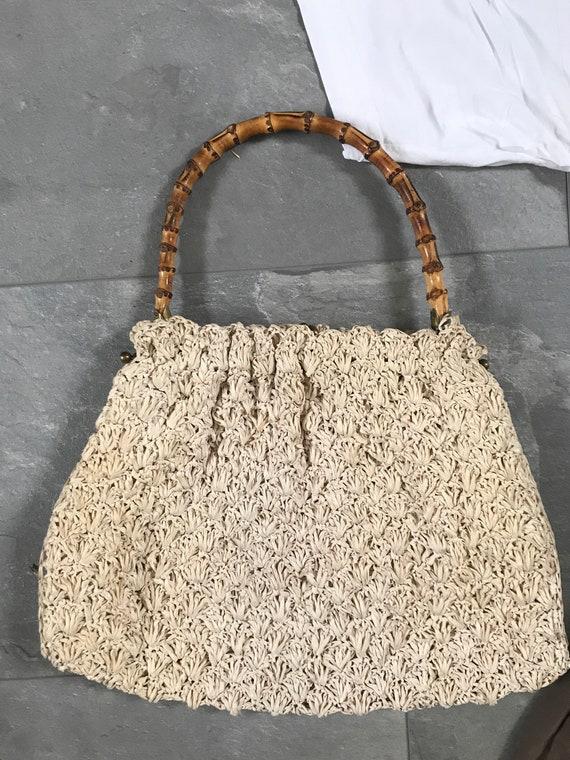 Vintage handbag | beige | raffia bag | breaded | bamboo handle | sixties | top handle | short handle