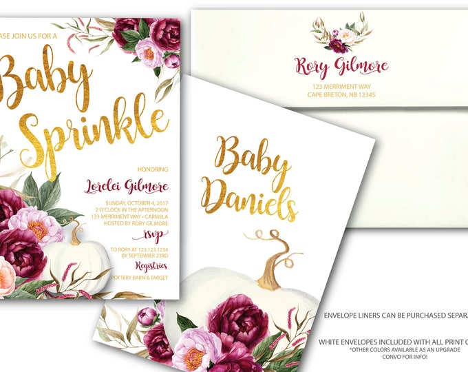 Burgundy Pumpkin Baby Sprinkle Invitation // A little pumpkin is on the way // Fall Baby Sprinkle Invitation // Gold // CARMEL COLLECTION