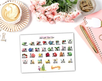 Christmas New Year Countdown watercolor planner stickers || Erin Condren Life Planner, Kikki K, Plum Paper Planner