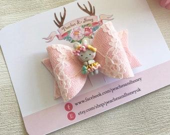 Pink bunny lace felt hair bow