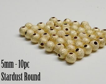 14K Gold Filled Stardust Round Bead, 5mm, Seamless, USA, 10pc
