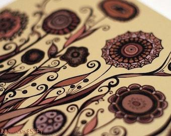 Swirling Garden in Earth Tones 8x10 Print