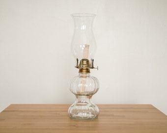 Vintage Oil Lamp • Glass Kerosene Lantern • Hurricane Chimney • 16 inches • Victorian Style Decor • 1980s Lamplight Farms • Shabby Chic