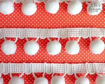 """Pom Pom Trim • White Ball Fringe 1-1/8"""" Wide (3 Yards) Sewing • DIY Craft • Hair Accessories • Jewelry Making • Packaging • Card Making"""