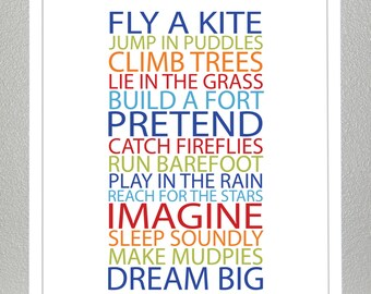 Kids room decor - BE A KID - Bold Boy Colors - 8x10 Poster