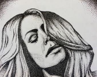 Print of a stipple portrait of female model