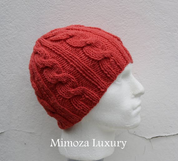 Coral Men's Beanie hat, Hand Knitted Hat in coral beanie hat, knitted cap, knitted men's, women's beanie hat, winter beanie, coral ski hat