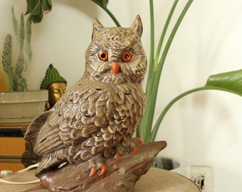 vintage owl lamp . large brown owl tv lamp . ugly owl ceramic lamp, 1970s owl lamp