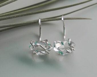 Herkimer Diamond hugger hoop Earring