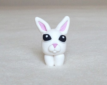 Rabbit Figurine, Polymer Clay Rabbit, minimio Figurine, Handmade, OOAK, Gift Figurine