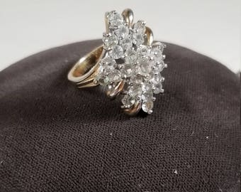 Vintage 18KT GE and Cubic Zirconia Ring Gold Plated Size 7.5