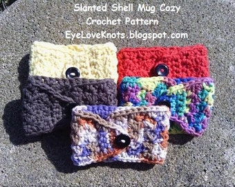 CROCHET PATTERN - Slanted Shell Mug Cozy - Crochet Mug Cozy Pattern, Crochet Gift Idea, Easy Crochet Pattern PDF, Permission to Sell Items