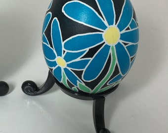 Blue Floral/Bees Pysanky Chicken Egg