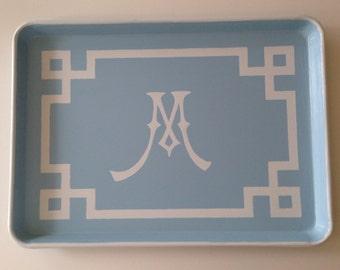 L white chinoiserie monogram greek key border light blue tray
