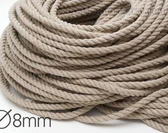 Linen rope 8 mm Natural linen twisted cord Decorative rope Natural raw Gift bag drawstring Linen twine Craft material / 5 meters