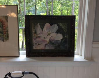 Stylized Apple Blossoms Original watercolor print in pinks and purple hues