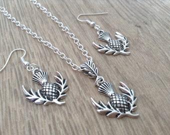 Silver Scottish Thistle Earrings, Dangeling Earrings, Outlander Earrings - Necklace, Friendship Gift,