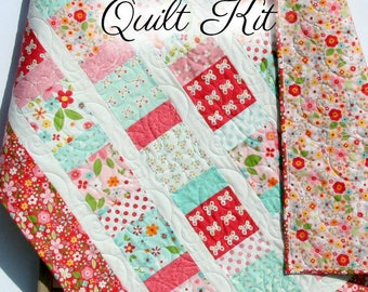 Blanket kit etsy baby girl quilt kit garden girl riley blake fabrics craft project quilting sewing diy do it yourself ideas charm pack precut quilt kit solutioingenieria Images