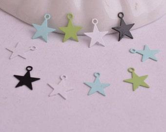 10 charms pendant 10 mm copper color filigree star