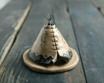 Unique, Handmade Incense Burner, Ceramic TeePee, Moon Phase Design, Rustic Speckled Stoneware Clay Pottery, Meditation Altar