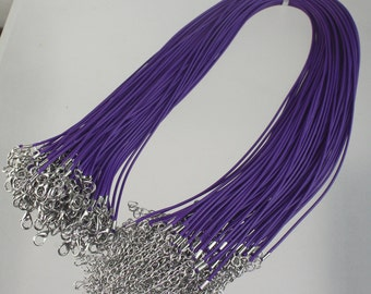 100 Purple Necklace Cord bulk, 1.5mm 18-20 inch adjustable PURPLE compressed cotton HIGH quality cord necklace - Ship from USA