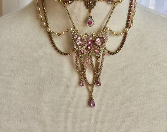 Marie Antoinette Sparkling Springtime Fantasy Pink Butterfly Rhinestone and Pearl Necklace