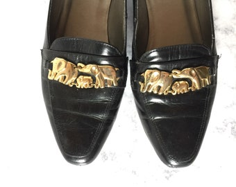 Vintage Leather Loafers with Gold Elephants / Size 6