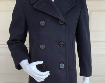 Vintage 50s Authentic Navy Wool Pea Coat US Military Doubled Breasted Coat Size 36