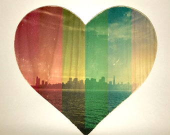 "Rainbow Pride: San Francisco Skyline - 9x8"" Heart Distressed Photo Transfer on Wood"