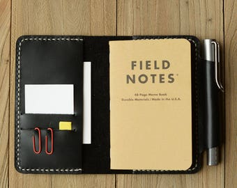 "Refillable genuine Leather Journal Cover for pocket size field notes notebook pen holder card slots / fit 3.5 x 5.5"" field notes"