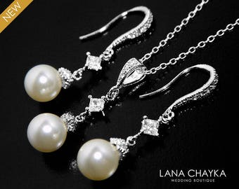 Ivory Pearl Bridal Jewelry Set Swarovski 8mm Pearl Earrings&Necklace Set Small Pearl Silver Wedding Set Pearl Jewelry Set Bridesmaids Set