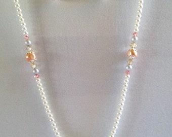 Rose Peach Necklace, Pendant, Earrings, Swarovski, Lightweight, Under 35.00